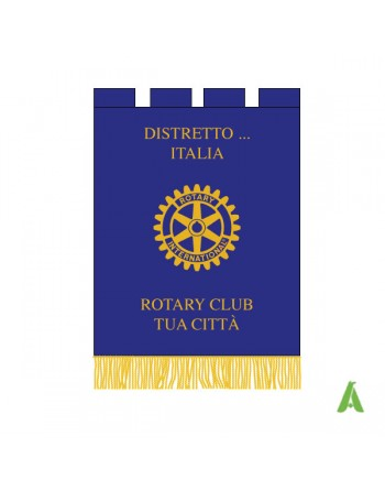 Rotary Club gonfalon with district text  logo and fringes.