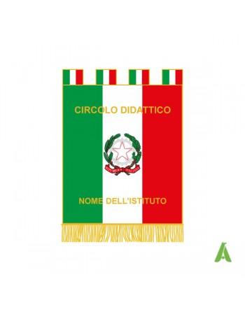 Bannière de la République Italienne avec emblème et laurier, ecrits sur mesure et tissu satin doublé.