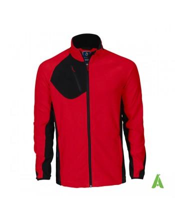 Giacca micropile colore rosso per aziende, con ricamo personalizzato.