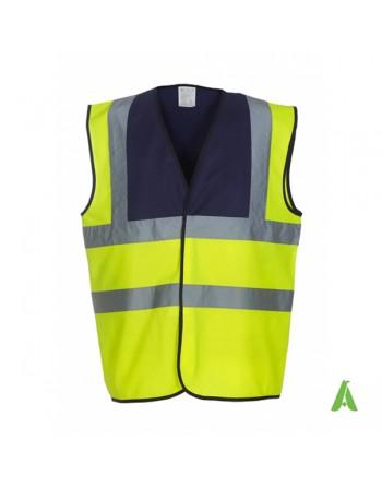 Gilet da lavoro alta visibilità giallo fluo-navy personalizzato con ricami per aziende