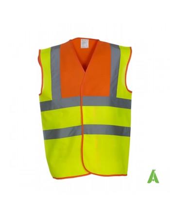 Gilet da lavoro alta visibilità giallo fluo - arancione personalizzato con ricami per aziende
