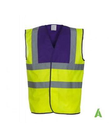 Gilet da lavoro alta visibilità giallo fluo - viola personalizzato con ricami per aziende