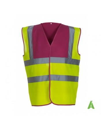 Gilet da lavoro alta visibilità giallo fluo-fuxia personalizzato con ricami per aziende