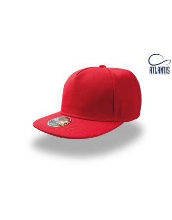 Cappello Snapback a 5 pannelli colore rosso, visiera piatta e personalizzabile con ricamo.