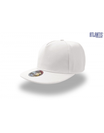 Cappello Snapback a 5 pannelli colore bianco, visiera piatta e personalizzabile con ricamo.