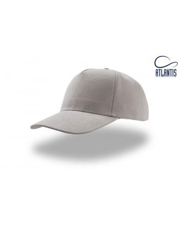 Cappello 5 pannelli colore grigio, 100% cotone pesante, chiusura retro in velcro, visiera precurvata e personalizzabile con logo