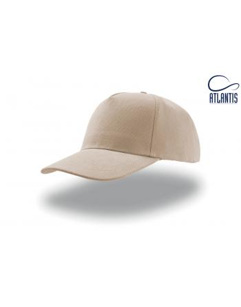 Cappello 5 pannelli colore kaky, 100% cotone pesante, chiusura retro in velcro, visiera precurvata e personalizzabile con logo