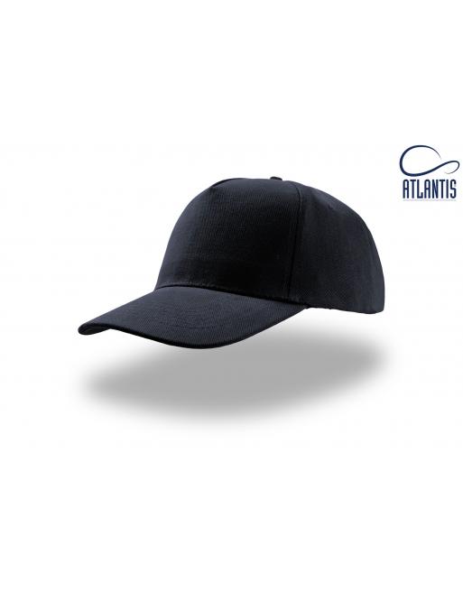 Cappello 5 pannelli colore blu navy, 100% cotone pesante, chiusura retro in velcro, visiera precurvata e personalizzabile con lo