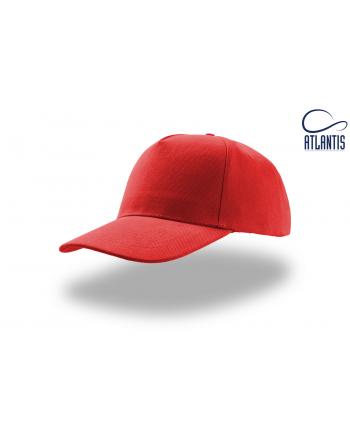 Cappello 5 pannelli colore rosso, 100% cotone pesante, chiusura retro in velcro, visiera precurvata e personalizzabile con logo