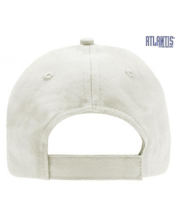 Cappello 5 pannelli colore bianco, 100% cotone pesante, chiusura retro in velcro, visiera precurvata e personalizzabile con logo