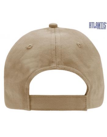 Cappello 5 pannelli colore beige, 100% cotone pesante, chiusura retro in velcro, visiera precurvata e personalizzabile con logo