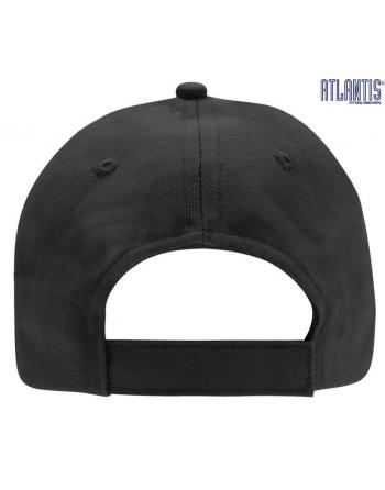 Cappello 5 pannelli colore nero, 100% cotone pesante, chiusura retro in velcro, visiera precurvata e personalizzabile con logo