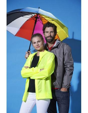 Giacca k-way antipioggia personalizzabile con patch cucito, colore grigio antracite, con cappuccio, per aziende e sport.