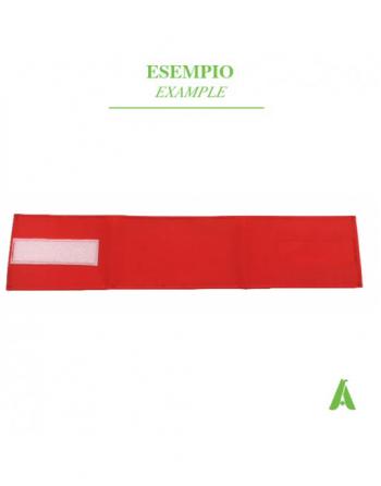 Fascia da braccio rossa regolabile con velcro, ideale per giubbotti e abbigliamento volontari, medici, aziende e dipendenti.