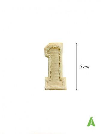 Numero ricamato 1 da cucire e stirare, in stile vintage Abercrombie su cotone sfrangiato, stile destroyed.