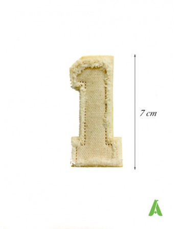 Numéro 1 brodé pour la couture et le repassage, style vintage sur coton frangé, style détruit.
