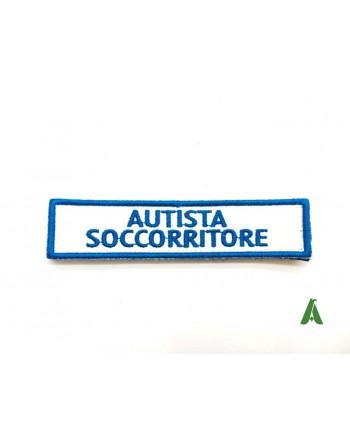 Distintivo toppa autista soccorritore con velcro, per divisa operatore sanitario 118.