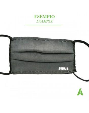 Mascherina con tessuto antibatterico lavabile, riutilizzabile e personalizzabile con logo o scritta.