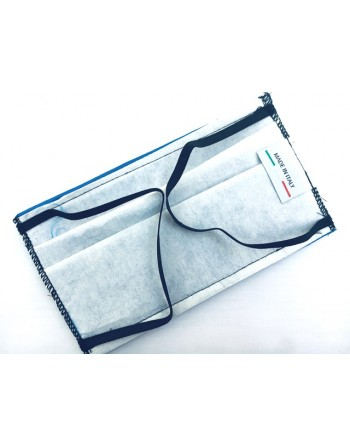 Blue cotton mask with Italian tricolor label, internal TNT fabric, customizable with print