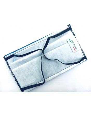 Máscara de algodón azul con etiqueta tricolor italiana, tejido TNT interno, personalizable con estampado
