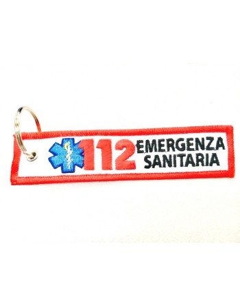 Porte-clés numéro (exe.112) d'urgence avec anneau en métal et tissu en polyester, broderie personnalisée pour USL