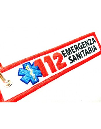 Emergency number (ex.112) key ring with metal ring and polyester fabric, customized embroidery for USL
