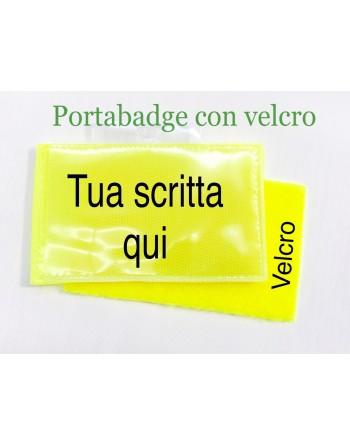 Badge holder for jacket, with male and female fluorescent yellow velcro, personalized with name.