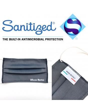 Mascherina lavabile e riutilizzabile, antibatterica con tessuto idrorepellente e traspirante leggero.