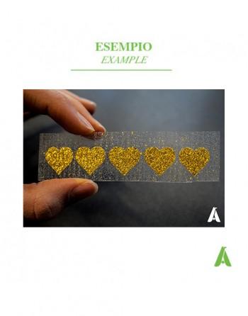 Etichette personalizzabili termo saldabili su abbigliamento colore oro