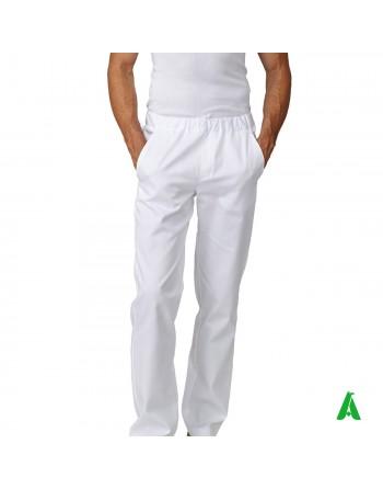 Pantaloni bianchi da chef con elastico e tasche, personalizzabile con ricamo fino a 9 colori