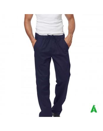 Pantaloni blu da chef con elastico e tasche, personalizzabile con ricamo fino a 9 colori