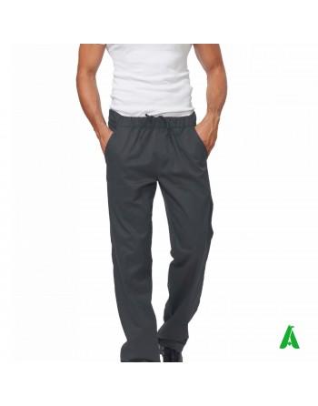 Pantaloni grigi da chef con elastico e tasche, personalizzabile con ricamo fino a 9 colori