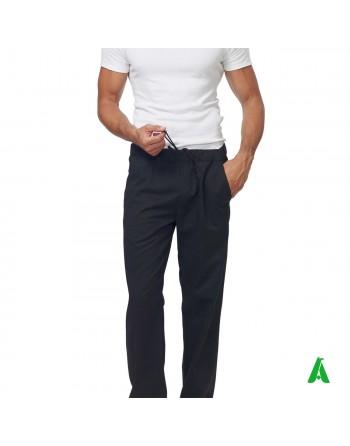 Pantaloni neri da chef con elastico e tasche, personalizzabile con ricamo fino a 9 colori