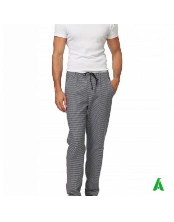 Pantaloni pied de poule da chef con elastico e tasche, personalizzabile con ricamo fino a 9 colori