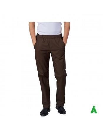 Pantaloni color tabacco da chef con elastico e tasche, personalizzabile con ricamo fino a 9 colori