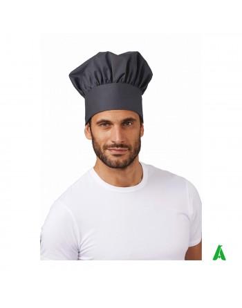 Berretto grigio da chef regolabile con velcro e personalizzabile con ricamo fino a 9 colori