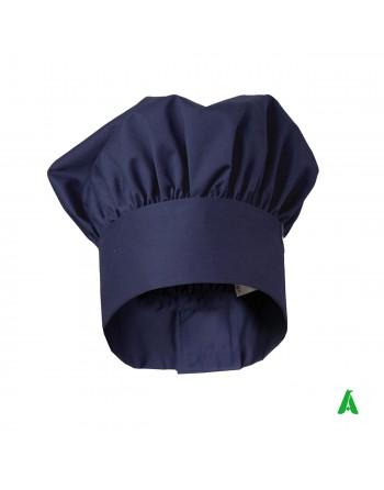 Berretto blu da chef regolabile con velcro e personalizzabile con ricamo fino a 9 colori