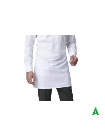 Grembiule bianco corto unisex antimacchia, personalizzabile con ricamo fino a 9 colori.