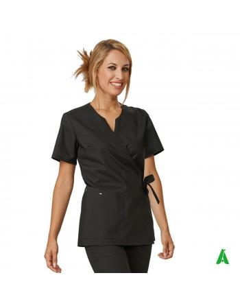 Casacca per beauty & wellness nera, personalizzabile con ricamo fino a 9 colori.