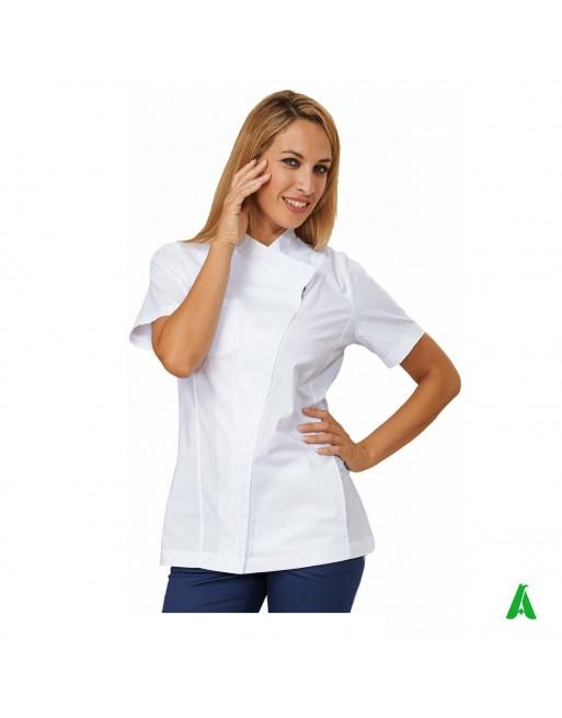 Casacca per beauty & wellness bianca, personalizzabile con ricamo fino a 9 colori.