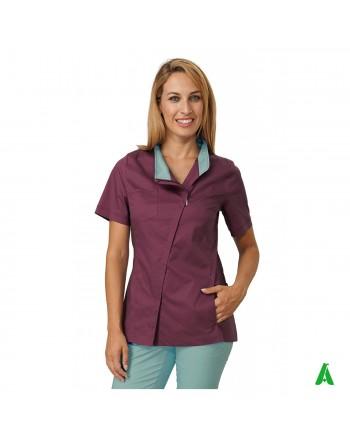 Casacca per beauty & wellness bordeaux, personalizzabile con ricamo fino a 9 colori.
