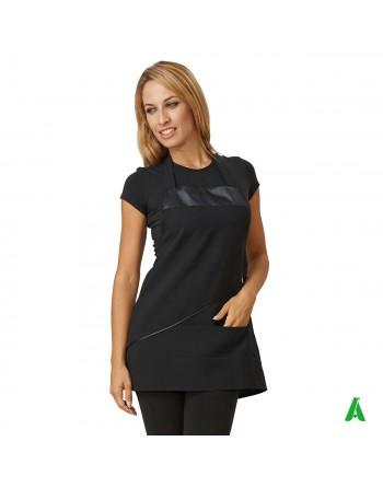 Grembiule per beauty & wellness nero, personalizzabile con ricamo fino a 9 colori.