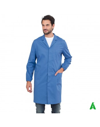 Long colored doctor's coat, customizable with printing or embroidery