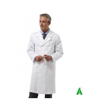 Manteau de médecin et de médecin, blanc avec boutons et manches longues, personnalisable avec impression ou broderie