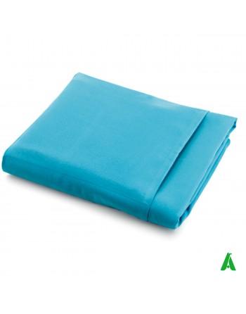 Telo Mare in microfibra cm 75 x 225 colore azzurro per lettino, con tasche porta oggetti, personalizzato con stampa ricamo.