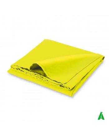 Telo fluorescente in microfibra, multiuso cm 90 x 170, colore giallo, per sport, piscina e mare.