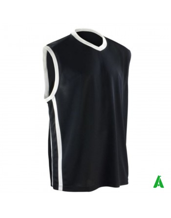 Breathable basketball sports tank top, black color, customizable with print or embroidery.