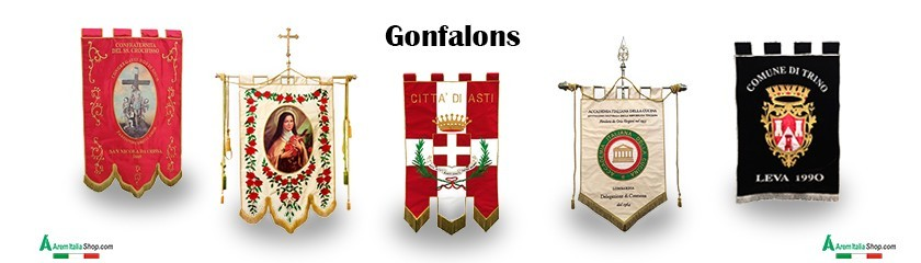 Custom-made embroidered gonfalons by | Arem Italia