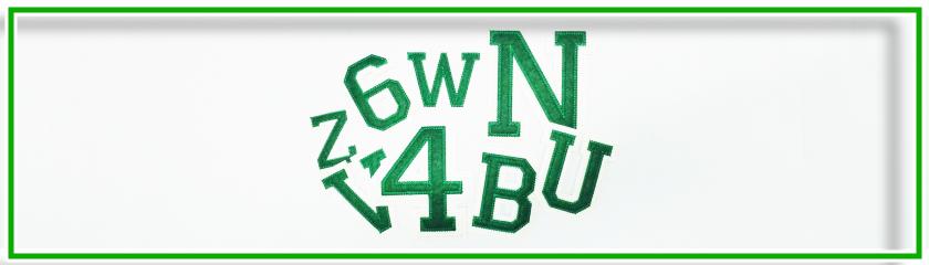 Buchstaben und Zahlen Nähen Farbe Grün/Ecru' von | Arem Italia