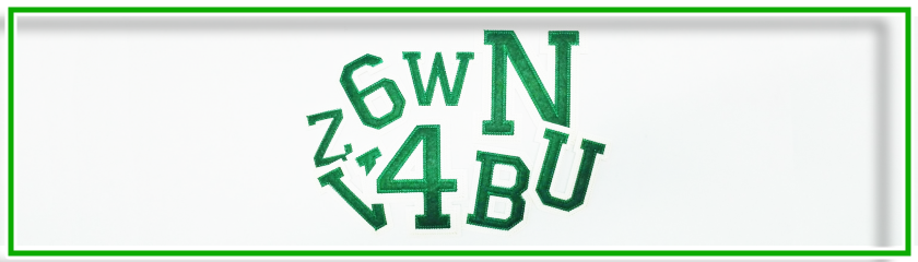Letras / Números color verde/ecru' bordado para ropa   Arem Italia